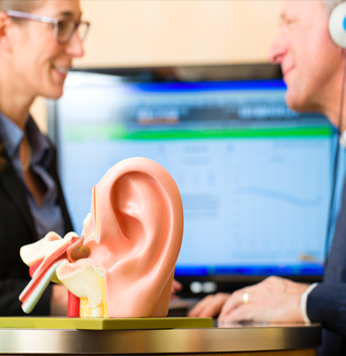 patient doing a hearing test